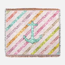 Aqua Glitter Nautical Anchor Girly  Woven Blanket