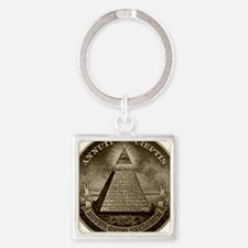 Illuminati Brown Square Keychains