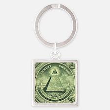 Illuminati Green Square Keychains