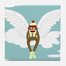 Sock Monkey Guardian Angel Wings Tile Coaster