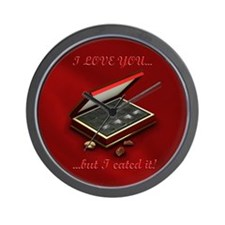 I eated it - red background Wall Clock