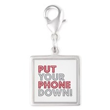 Put Your Phone Down Silver Square Charm