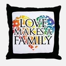 Love Makes A Family LGBT Throw Pillow