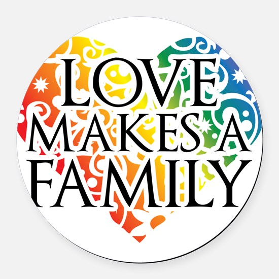 Love Makes A Family LGBT Round Car Magnet