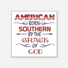 "American Born Southern By G Square Sticker 3"" x 3"""