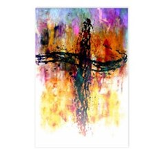 Impressionistic grunge cross Postcards (Package of