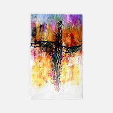 Impressionistic grunge cross 3'x5' Area Rug