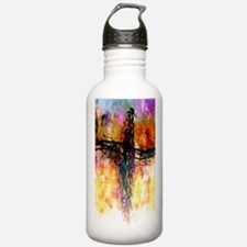 Impressionistic grunge cross Water Bottle