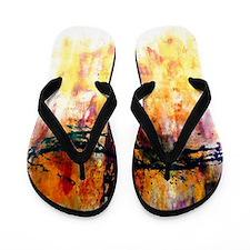 Impressionistic grunge cross Flip Flops