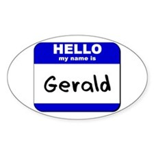 hello my name is gerald Oval Decal