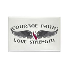 Throat Cancer Courage Wings Rectangle Magnet