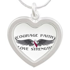 Throat Cancer Courage Wings Silver Heart Necklace