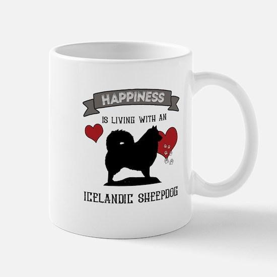 Happiness is living with an Icelandic Sheepdog Mug