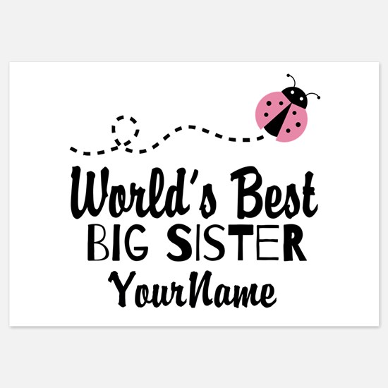 Worlds Best Big Sister - Personalized 5x7 Flat Car