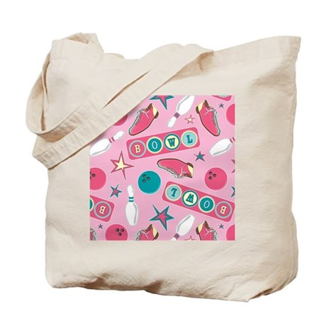 Retro Bowling Print Pink and Turquoise Tote Bag