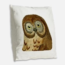 The Ominous Owl Burlap Throw Pillow