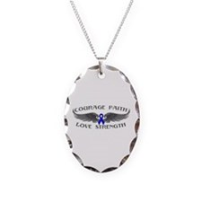 Rectal Cancer Courage Wings Necklace Oval Charm
