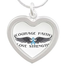 Prostate Cancer Courage Wings Silver Heart Necklac