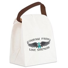 Ovarian Cancer Courage Wings Canvas Lunch Bag