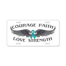 Ovarian Cancer Courage Wings Aluminum License Plat