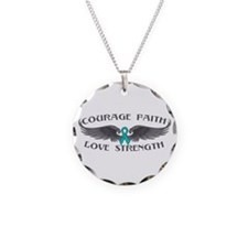 Ovarian Cancer Courage Wings Necklace