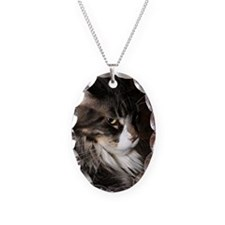 Maine Coon Cat Victor Necklace Oval Charm