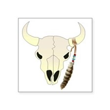"Cow Skull with Feather Square Sticker 3"" x 3"""