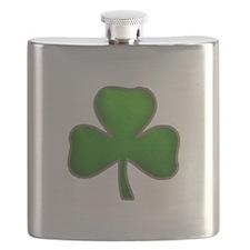 Irish Shamrock Sewn Leather Look Flask