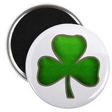 Irish Shamrock Sewn Leather Look Magnet
