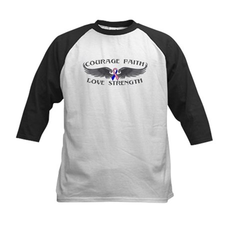 Male Breast Cancer Courage Wings Kids Baseball Jer