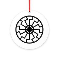 Black Sun Round Ornament