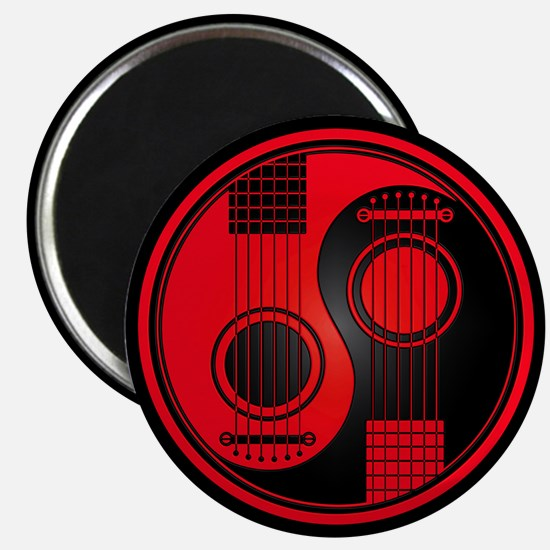 Red Yin Yang Acoustic Guitars with Black Back Magn