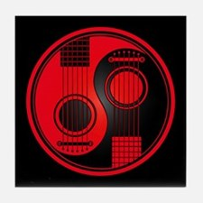 Red Yin Yang Acoustic Guitars with Black Back Tile