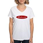 Cubanita Oval Red Women's V-Neck T-Shirt