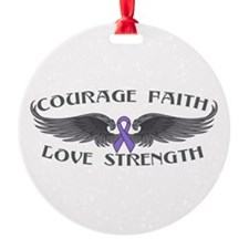 Hodgkins Lymphoma Courage Wings Ornament
