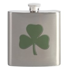 Crossed Stitched Look Shamrock Flask