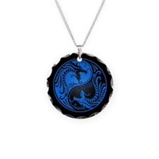 Blue Yin Yang Dragons with Black Back Necklace