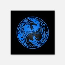 Blue Yin Yang Dragons with Black Back Sticker