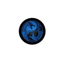 Blue Yin Yang Dragons with Black Back Mini Button