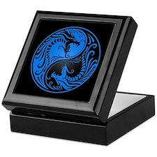 Blue Yin Yang Dragons with Black Back Keepsake Box