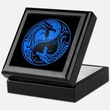 Blue Yin Yang Dragons with Black Back Keepsake Box