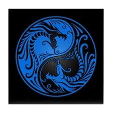 Blue Yin Yang Dragons with Black Back Tile Coaster