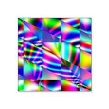 "Psychedelic Abstract Colors Square Sticker 3"" x 3"""
