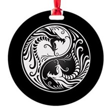 White Yin Yang Dragons with Black Back Ornament