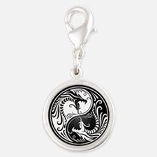 White Yin Yang Dragons with Black Back Charms