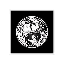 White Yin Yang Dragons with Black Back Sticker