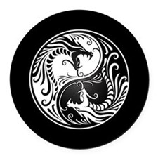 White Yin Yang Dragons with Black Back Round Car M