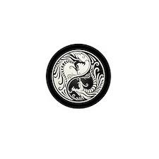 White Yin Yang Dragons with Black Back Mini Button