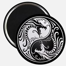 White Yin Yang Dragons with Black Back Magnets