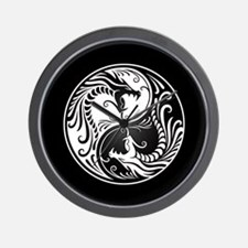 White Yin Yang Dragons with Black Back Wall Clock
